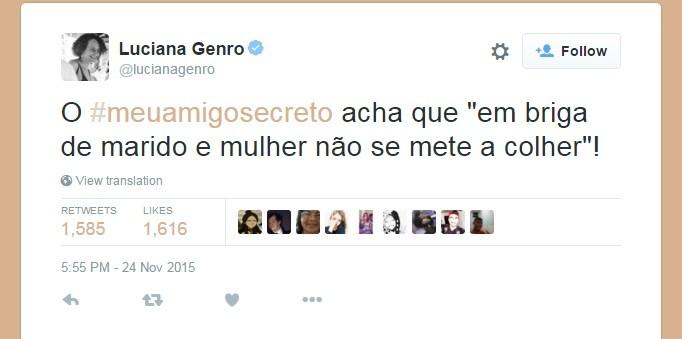 Luciana Genro publica no Twitter na campanha #MeuAmigoSecreto (Foto: Reprodução / Twitter)