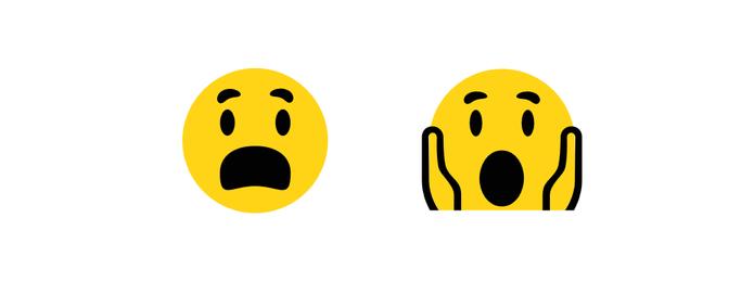 Novo emoji com expressão de medo à direita (Foto: Reprodução/Emojipedia)
