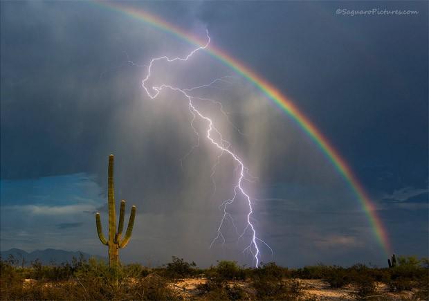 Relâmpago e arco-íris são registrados na mesma foto em um clique raro em região desértica do Arizona, nos EUA (Foto: Greg McCown)