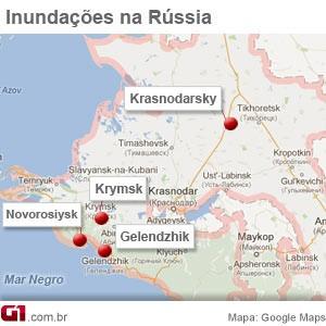 mapa inundações na Rússia (Foto: Editoria de Arte / G1)