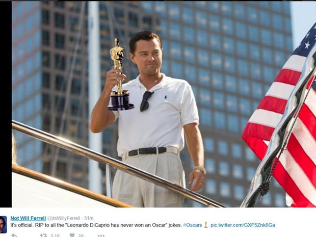 Will Ferrell brinca com vitória de Leonardo DiCaprio no Oscar (Foto: Reprodução / Twitter)