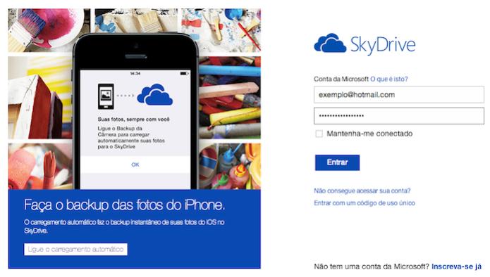 Logue em sua conta do SkyDrive (Foto: Reprodução/Helito Bijora) (Foto: Logue em sua conta do SkyDrive (Foto: Reprodução/Helito Bijora))