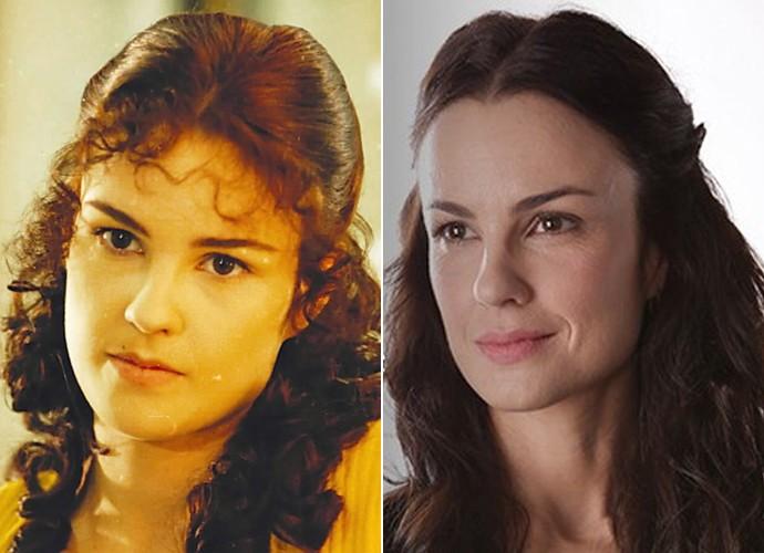 Na pele de Valentina, em Anjo de Mim, Carolina Kasting foi uma jovem suave de origem francesa. Já em Além do Tempo, ela encarna Rosa, uma mulher fogosa e cheia de personalidade (Foto: CEDOC / TV Globo / Fábio Rocha / Gshow)