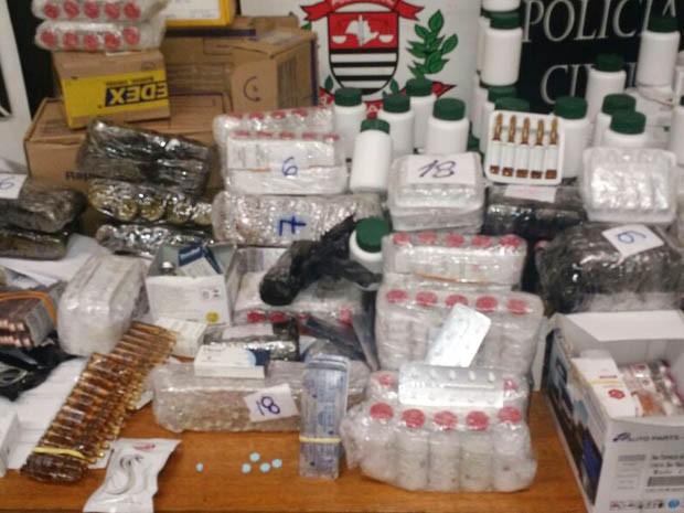 Mais de 20 mil anabolizantes foram apreendidos (Foto: Divulgação/Polícia Civil)