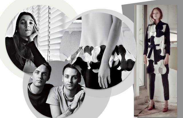 Lolita Jacobs, diretora de estilo da marca e musa da dupla Meyer e Vaillant. À direita, imagens do inverno 2015 da Coperni (Foto: Kirstin Sinclair/Getty Images , Agência Fotosite, Getty Images, Divulgação e Reprodução/ Instagram)