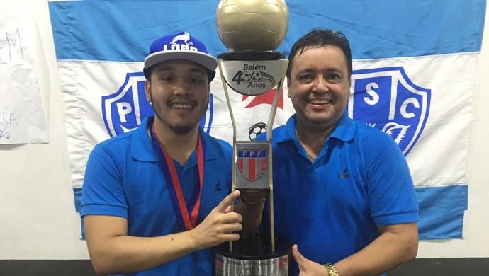 Alberto Maia comemora a conquita da Taça Cidade de Belém ao lado do filho, Victor Maia (Foto: Reprodução/Twitter)