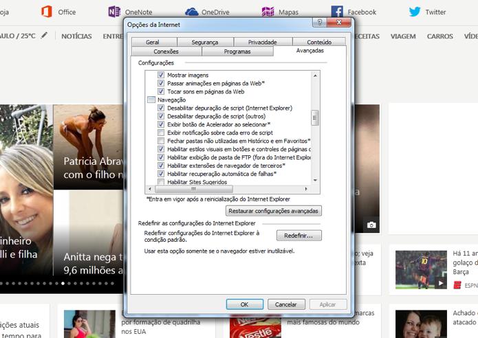 f66d668ce Opções para desabilitar a execução de Javascript (Foto  Reprodução André  Sugai)