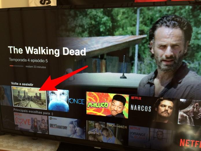 Abra o Netflix e desça até a seção Volte a assistir (Foto: Reprodução/Lucas Mendes)