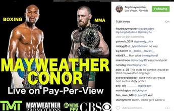 BLOG: Sem mencionar data, Mayweather divulga foto de luta com McGregor