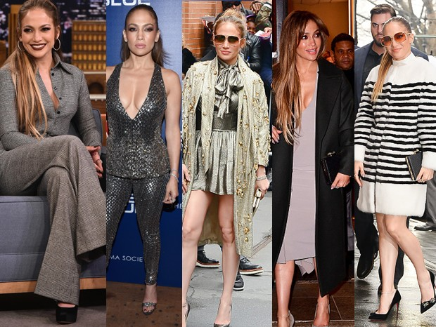 Jennifer Lopez: cinco looks, um dia (Foto: Getty Images)