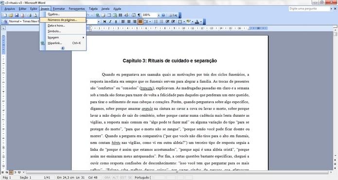Caminho para ferramenta Números de páginas do Word (Foto: Reprodução/ Raquel Freire)