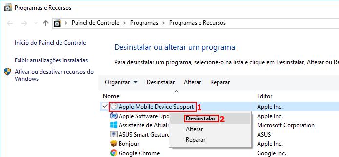 Desinstalando o Apple Mobile Device Support (Foto: Reprodução/Edivaldo Brito)