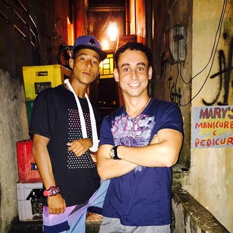 Peter Brandão e Paulo Verlings nos bastidores de Babilônia (Foto: Arquivo pessoal)