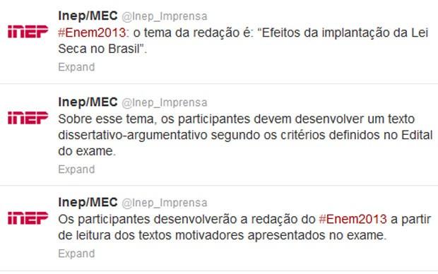 Tema da redação foi divulgado pelo Inep assim que começou a prova do Enem neste domingo (Foto: Reprodução/Twitter)