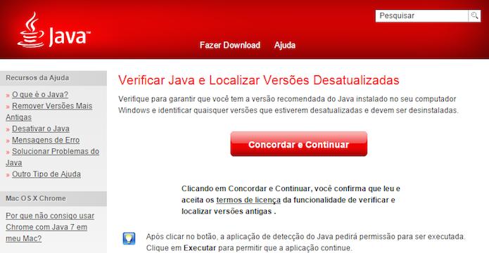 Acesse a página de verificação do Java (Foto: Reprodução/Helito Bijora)