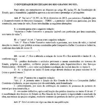 Diário Oficial do RS mostra lei sancionada por José Ivo Sartori (Foto: Reprodução/Diário Oficial do Estado)