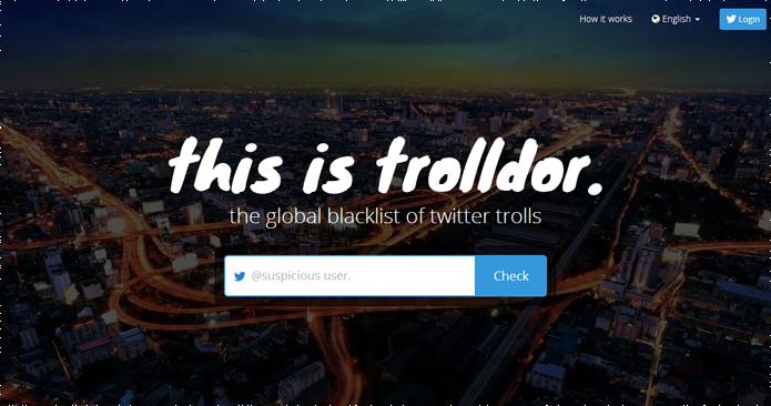 Site promete ser uma lista de trolls conhecidos no Twitter (foto: Reprodução/Trolldor)