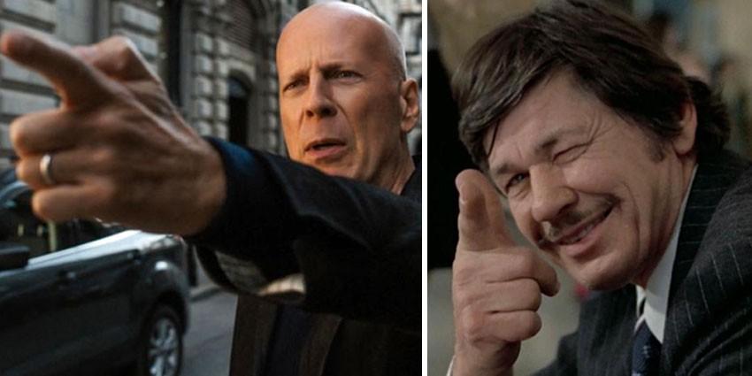 Bruce Willis e Charles Bronson, o atual e o antigo Paul Kersey de 'Desejo de Matar' (Foto: Divulgação)