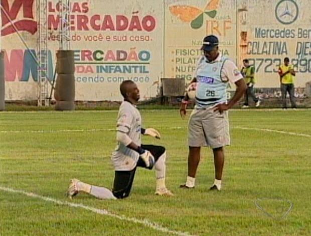 Merivaldo, goleiro do Aracruz (Foto: Reprodução/TV Gazeta)