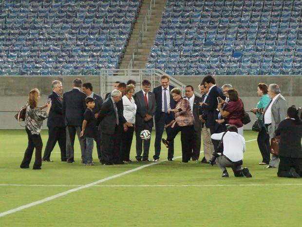 Dilma Rousseff inaugura Arena das Dunas - pontapé inicial (Foto: Augusto Gomes/G1)