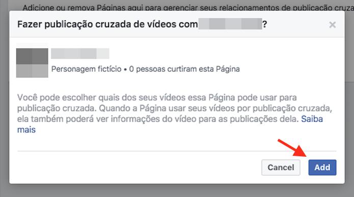 Página de confirmação da ferramenta publicações cruzadas para duas páginas do Facebook (Foto: Reprodução/Marvin Costa)