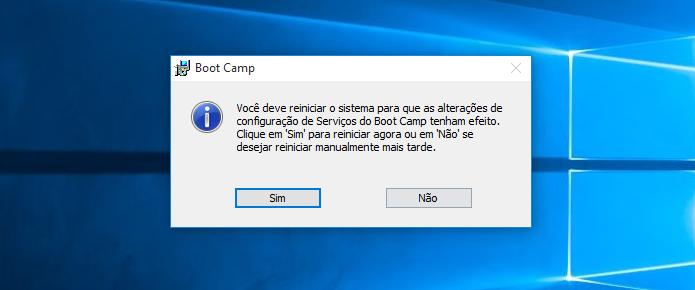 Reinicie o computador para finalizar (Foto: Reprodução/Helito Bijora)