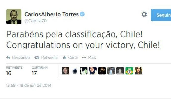 Carlos Alberto Torres parabeniza o Chile