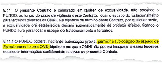 Contrato do estacionamento da Arena Corinthians (Foto: Reprodução)