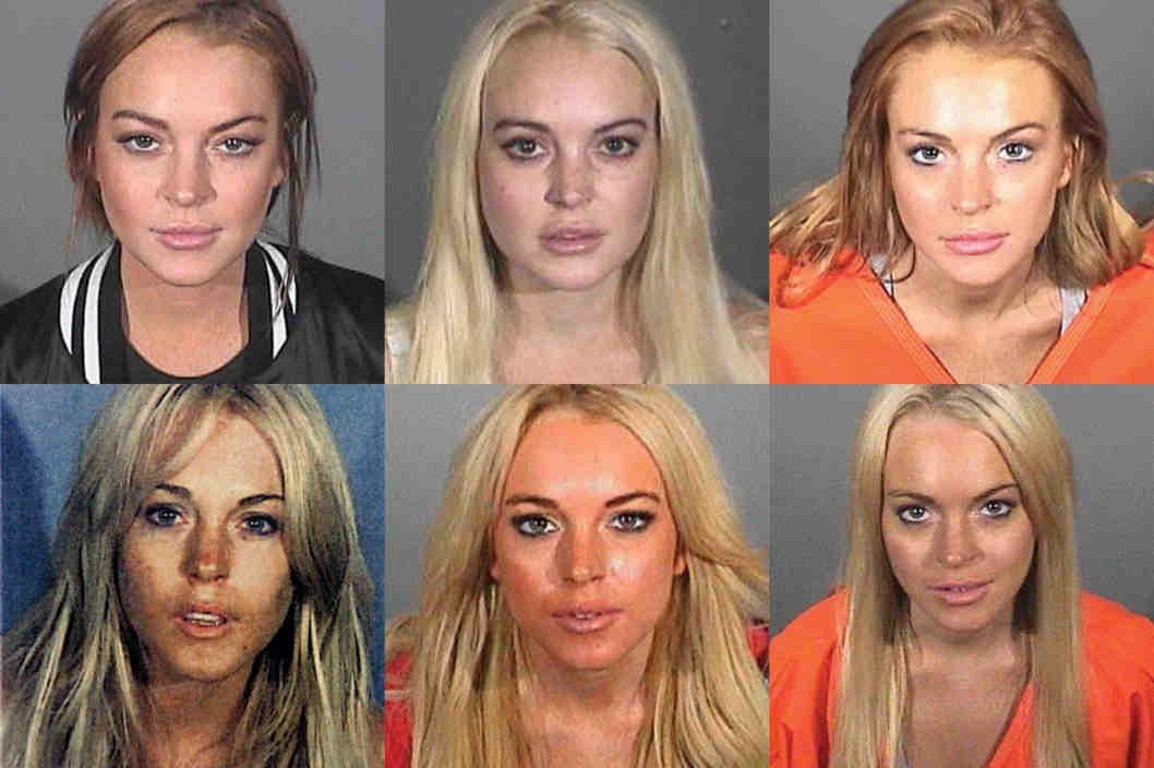 Lindsay Lohan nas diversas vezes que foi presa (Foto: Divulgação)