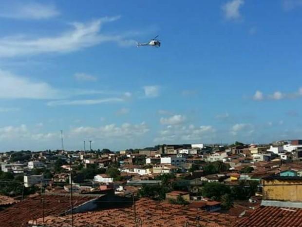 Helicóptero da PM, Potiguar I é usado nas diligências  (Foto: Andréa Tavares/G1)