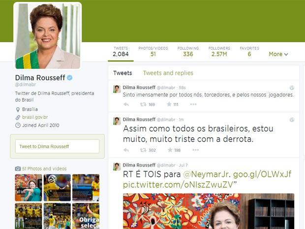 Reprodução do Twitter da presidente Dilma Rousseff (Foto: Reprodução / Twitter)