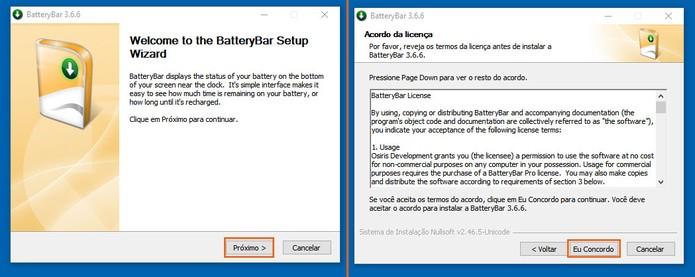 Inicie a instalação do programa gratuito BatteryBar no notebook com Windows 10 (Foto: Reprodução/Barbara Mannara)