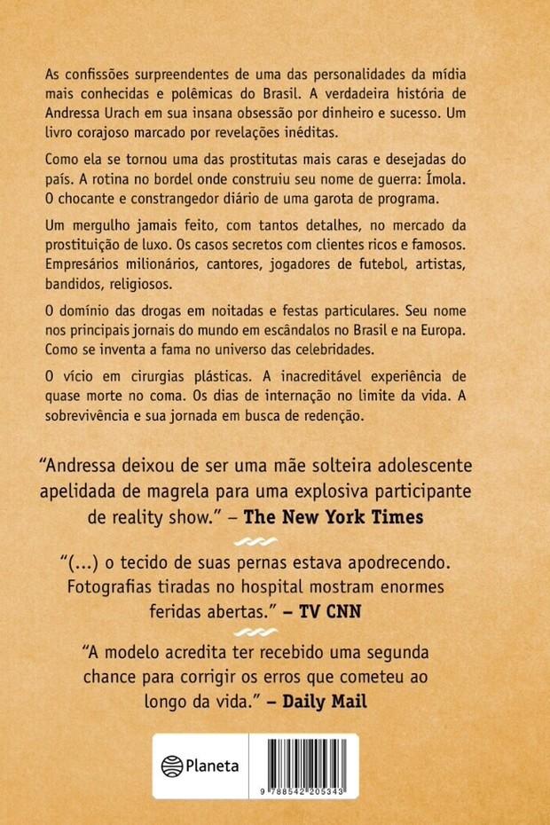 Contracapa do livro de Andressa Urach (Foto: Repdrodução)