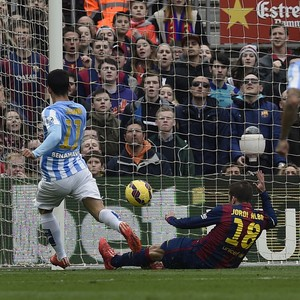 Barcelona x Malaga - Pablo Javier comemora gol (Foto: AFP)