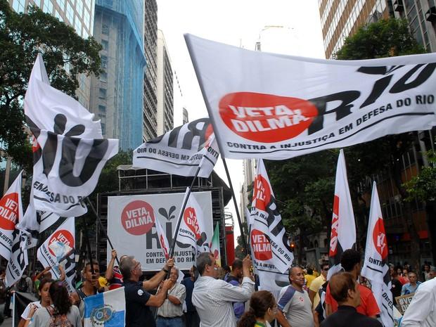 Ato em defesa dos royalties reúne manifestantes no Centro do Rio (Foto: Alexandre Durão/G1)