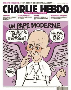 Charge da 'Charlie Hebdo' que mostra o Papa Francisco foi reproduzida por site católico (Foto: Reprodução/Facebook Charlie Hebdo)