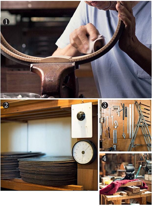 1. Com a estrutura do violão encaixada na morsa, o luthier lapida a parte interna do jacarandá, em uma das etapas iniciais da produção; 2. Na estufa, o termômetro marca  30° C. Nessa temperatura, as madeiras aguardam por até 30 anos para virar violão;  XX (Foto: Camila Fontana)