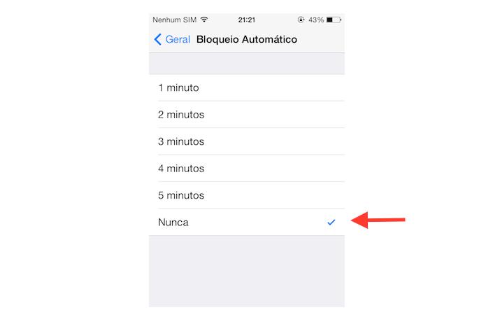 Redefinindo o tempo de bloqueio automático do iOS (Foto: Reprodução/Marvin Costa)