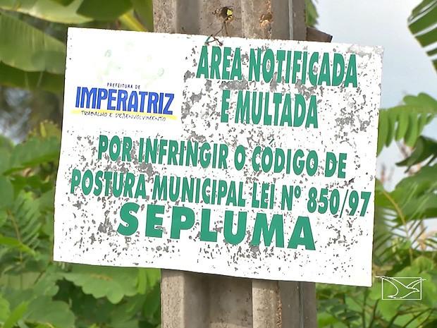 Alguns terrenos possuem placas que informam sobre multa (Foto: Reprodução / TV Mirante)