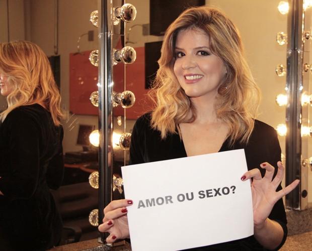 Mariana Santos responde a perguntas picantes nos bastidores do 'Faustão' (Foto: Marcos Mazini / Gshow)