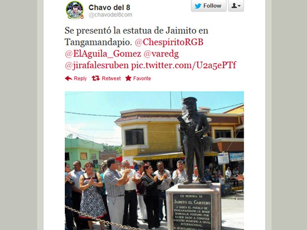 Estátua em homenagem a Jaiminho, de 'Chaves', em Tangamandápio, no México (Foto: Reprodução/Twitter Chavodel8com)