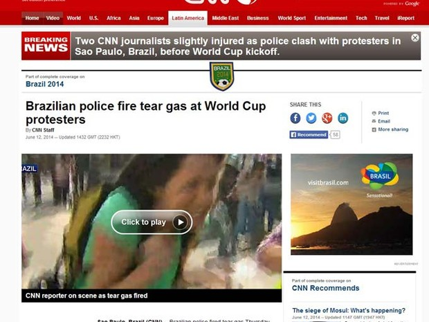 CNN destaca jornalistas feridas durante protesto em São Paulo (Foto: Reprodução)