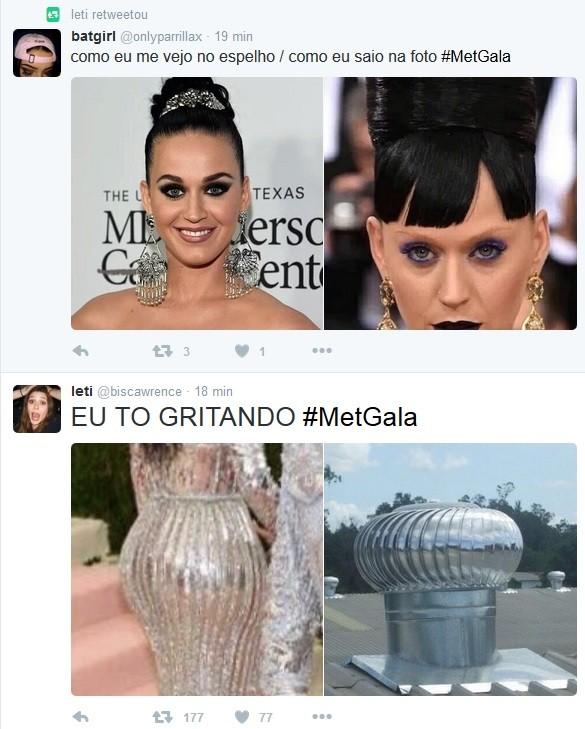 Katy Perry e Kim Kardashian viram memes por conta de seus visuais bizarros (Foto: Reprodução/Twitter)