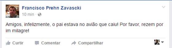Francisco Prehn Zavascki, filho do ministro Teori Zavascki, confirmou que pai estava no avião que caiu em Paraty (Foto: reprodução/facebook)