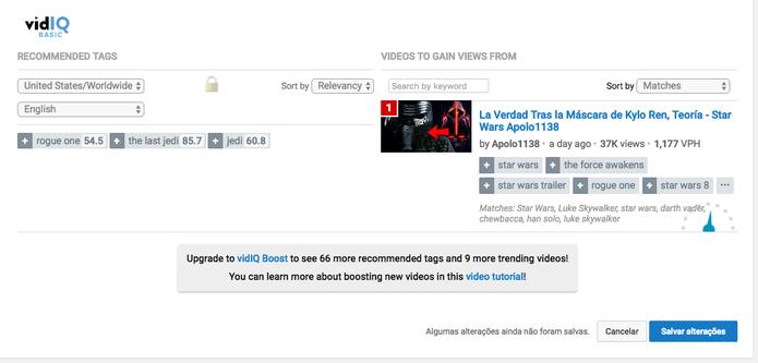 Sugestão de palavras-chave para aumentar visitas no vídeo (Foto: Reprodução/Felipe Vinha)