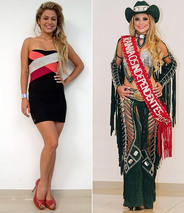 A rainha Kamila Oliveira antes e depois da produção para a Festa do Peão de Barretos, SP (Foto: Érico Andrade/G1)