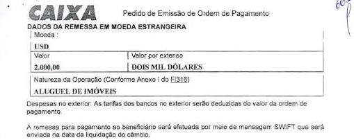 Comprovante da transferência de US$ 2 mil para o Uruguai encontrado na casa de Geddel Vieira Lima (Foto: Reprodução)