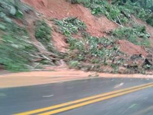 Deslizamentos ocorreram na Padre Manoel da Nóbrega (Foto: G1)
