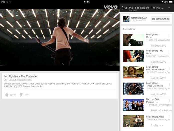 O aplicativo do YouTube para plataformas móveis oferece uma série de recursos, porém só funciona se estiver em primeiro plano (Foto: Reprodução/Daniel Ribeiro)