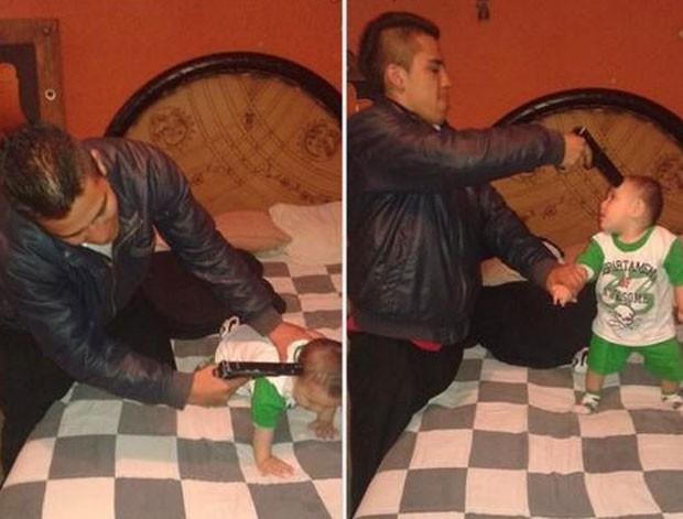 Luis Martin Perez Rocha postou as imagens em que aparece com uma arma apontada para a cabeça do sobrinho (Foto: Reprodução/Facebook)